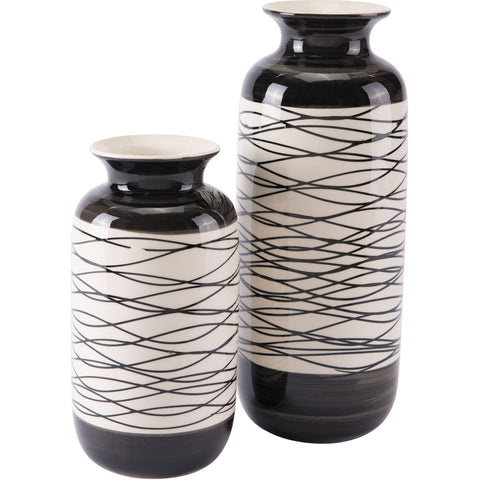Black & Ivory Stripes Vase, Tall
