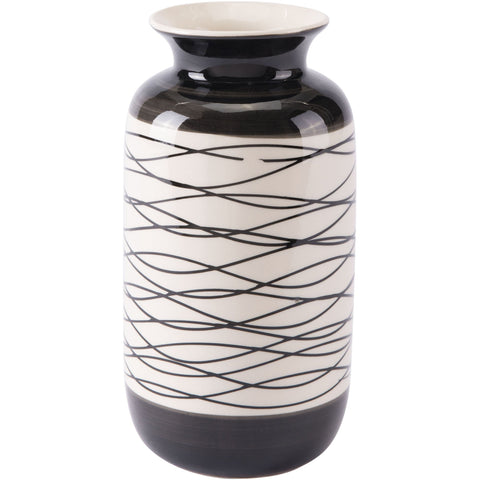 Black & Ivory Stripes Vase, Short