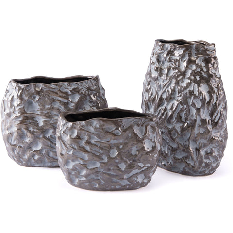 Metallic Brown & White Stones Vase, Medium
