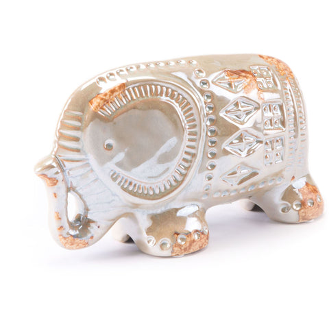 Distressed Pearl Antique Elephant Figurine, Large