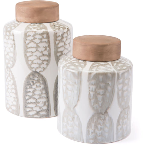 Ivory & Sage Green Feather Covered Jar, Small