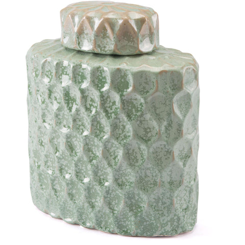 Green Lattice Covered Jar, Medium