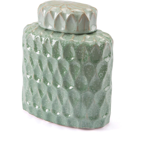Green Lattice Covered Jar, Small