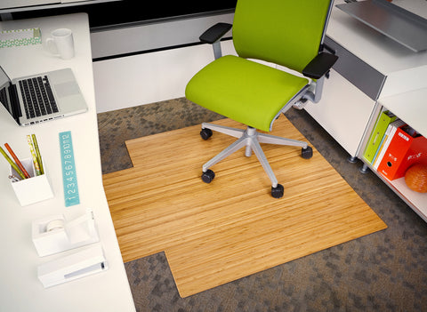 "Bamboo Roll-Up Chairmat, 44"" x 52"", with lip"