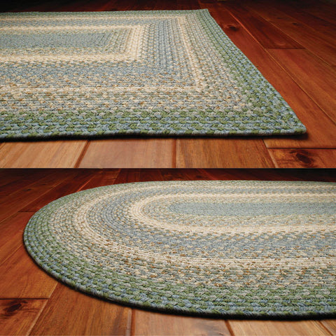 Baja Blue Braided Cotton Oval Rug