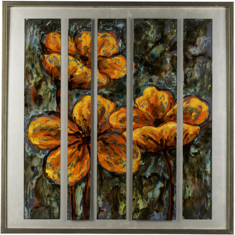 Orange Flowers Framed Painting