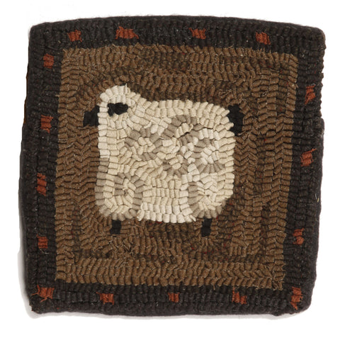 "Curley 10""x10"" Hooked Wool Pillow"