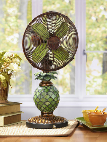 Mosaic Glass Pineapple Table Fan