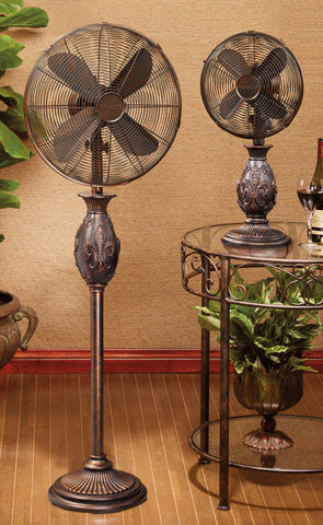 Copper Fleur-de-lis Table Fan
