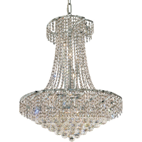 "Belenus 26"" Diam Chandelier, Chrome Finish, Clear Crystal, Elegant Cut"