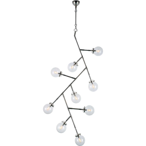 Leda 9-Light Chandelier, Polished Nickel Finish