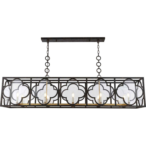 Trinity 10-Light Chandelier, Aged Copper & Golden Iron Finish