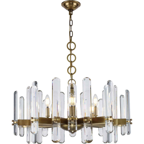 Lincoln 10-Light Chandelier, Burnished Brass Finish, Clear Crystal, Royal Cut