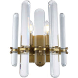 Lincoln 2-Light Wall Sconce, Burnished Brass Finish, Clear Crystal, Royal Cut - eTriggerz.com