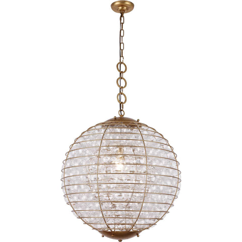 Bellagio 1-Light Chandelier, Antique Gold Leaf Finish, Clear Glass