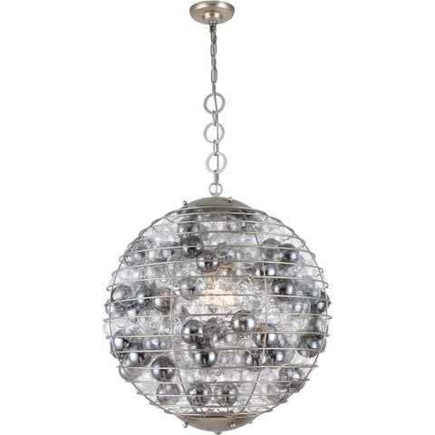 Bellagio 1-Light Chandelier, Antique Silver Leaf Finish, Silver Shade Glass