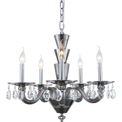 Augusta 5-Light Chandelier, Silver Shade Finish, Clear Crystal, Royal Cut