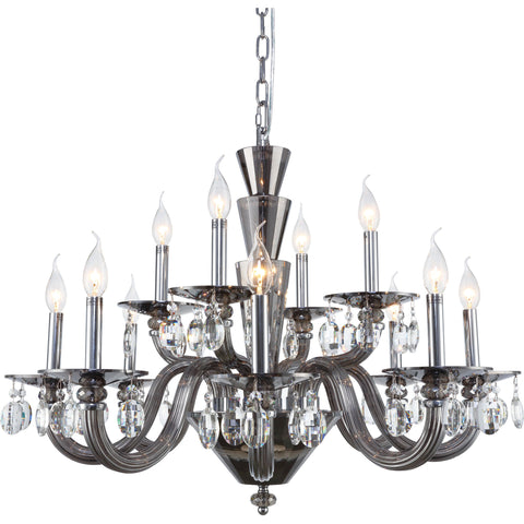 Augusta 12-Light Chandelier, Silver Shade Finish, Clear Crystal, Royal Cut