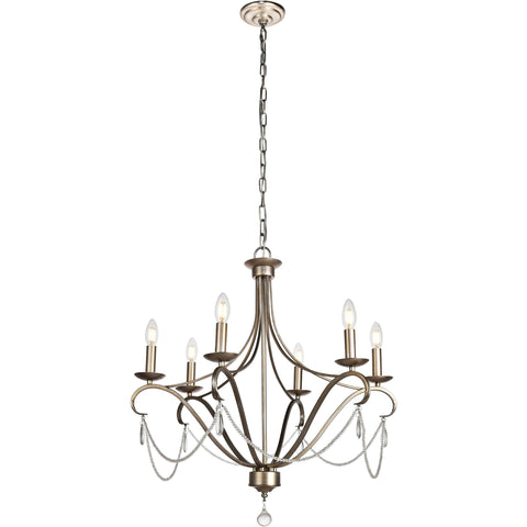 "Baez 26.3"" Diam 6-Light Chandelier, Antique Silver, Clear Crystal, Royal Cut"