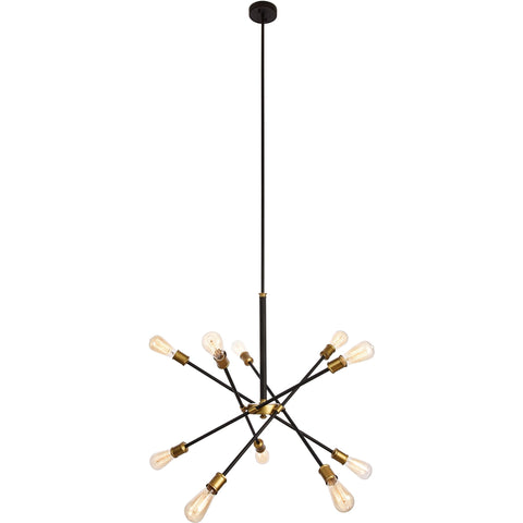 "Axel 27.2"" Diam 10-Light Chandelier, Black & Brass Finish"