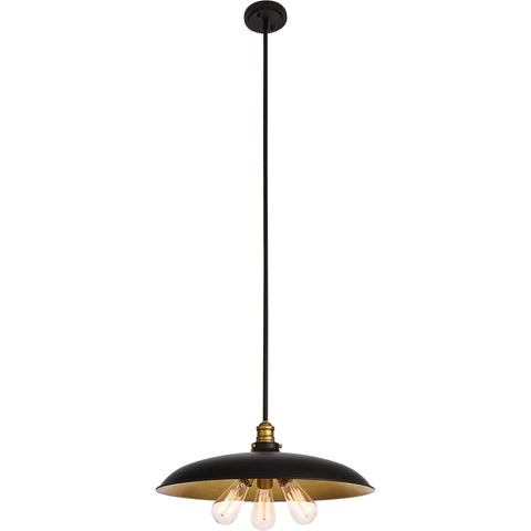 "Anders 20.5"" Diam 3-Light Chandelier, Black & Brass Finish"