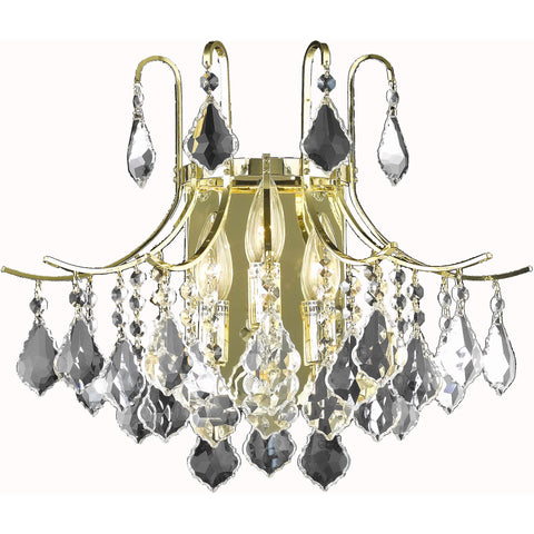 Amelia 3-Light Wall Sconce, Gold Finish, Clear Crystal, Royal Cut