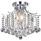 Amelia 3-Light Flush-Mount Light, Chrome Finish, Clear Crystal, Royal Cut - eTriggerz.com