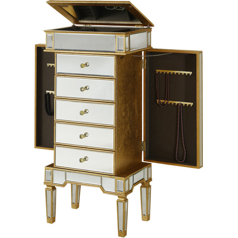 "Florentine 24""x17""x52"" 5-Drawer Mirrored Jewelry Armoire, Gold Leaf"
