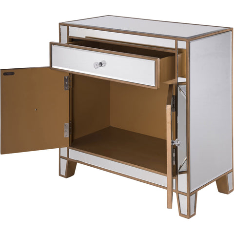 "Contempo 28""x13.25""x28.25"" Mirrored Drawer & 2-Door Cabinet, Gold"