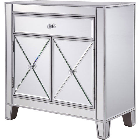 "Contempo 28""x13.25""x28.25"" Mirrored Drawer & 2-Door Cabinet, Silver"