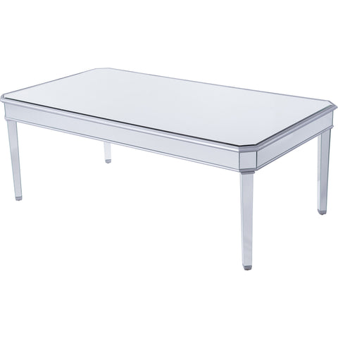 "Contempo 80""x44""x30"" Mirrored Dining Table, Silver"