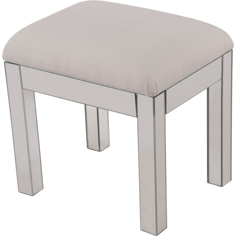 "Contempo 18""x14""x18"" Mirrored Dressing Stool, Silver"