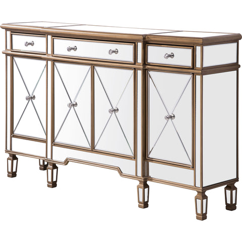 "Contempo 60""x14""x36"" Mirrored 3-Drawer & 4-Door Cabinet, Gold"