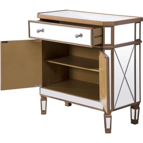 "Contempo 32""x16""x32"" Mirrored Drawer & 2-Door Cabinet, Gold"