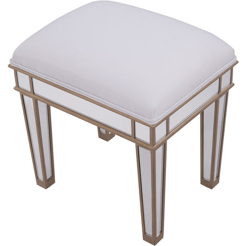 "Contempo 18""x14""x18"" Mirrored Dressing Stool, Gold"