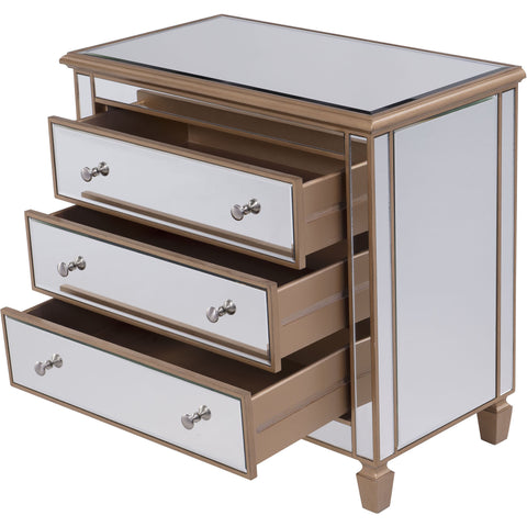"Contempo 33""x18""x32"" Mirrored 3-Drawer Bedside Cabinet, Gold"