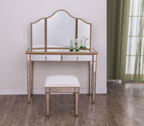 "Contempo 42""x18""x31"" Mirrored Vanity Table, Mirror & Chair, Gold"