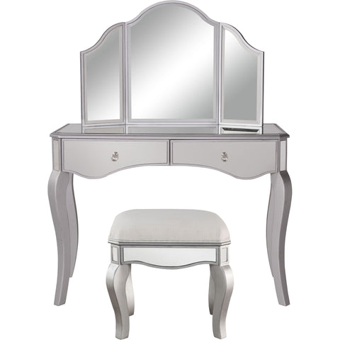 "Contempo 42""x18""x31"" Mirrored Vanity Table, Mirror & Chair, Silver"