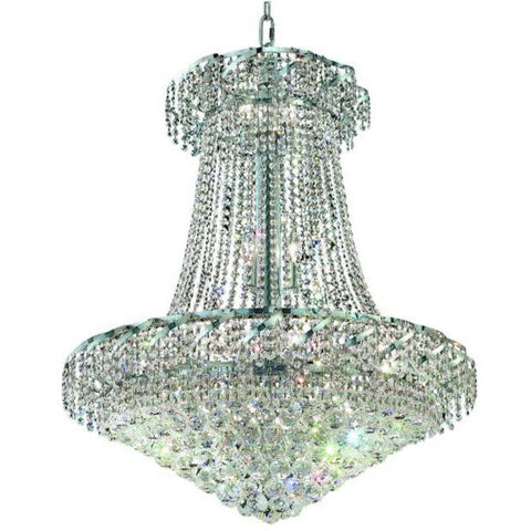 "Belenus 30"" Diam 18-Light Chandelier, Chrome, Clear Crystal"