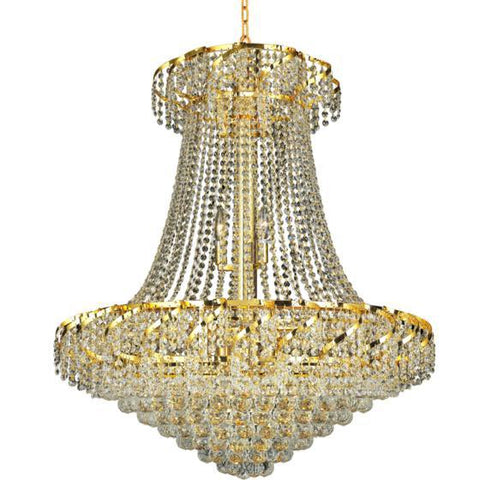 "Belenus 30"" Diam 18-Light Chandelier, Gold, Clear Crystal"