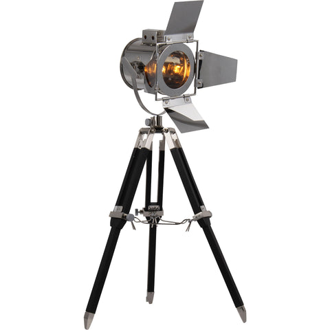 "Ansel Tripod 6.5"" Diam Floor Lamp, Chrome & Black Finish"