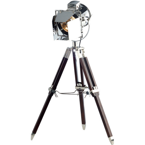 "Ansel Tripod 6.5"" Diam Floor Lamp, Chrome & Brown Finish"