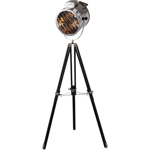 "Ansel Tripod 11"" Diam Floor Lamp, Chrome & Black Finish"