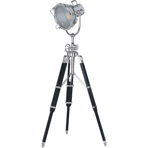 "Ansel Tripod 19"" Diam Floor Lamp, Chrome & Black Finish"