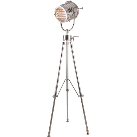 "Ansel Tripod 14"" Diam Floor Lamp, Chrome Finish"