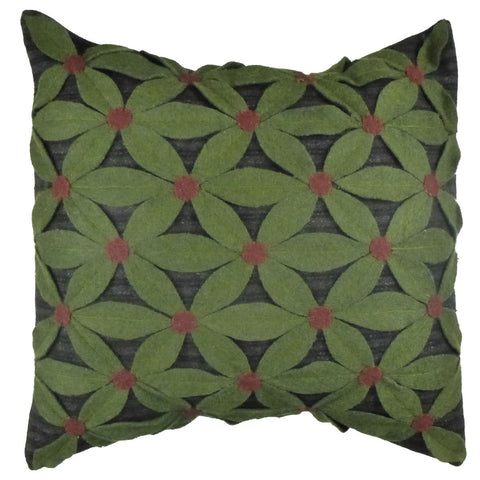 "Field Of Green 18""x18"" Hooked Wool Pillow"