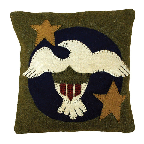 "Freedom 12""x12"" Applique Wool Pillow"