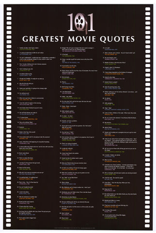 101 Greatest Movie Quotes 24x36 Inspirational Poster (2008)