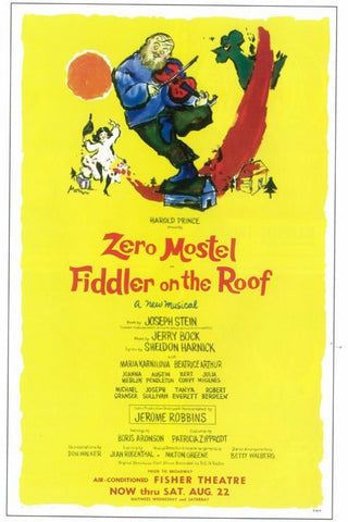 Fiddler On the Roof 11x17 Broadway Show Poster (1964)