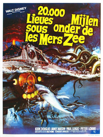 20,000 Leagues Under the Sea (Belgian) 27x40 Movie Poster (1954)